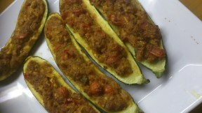 Masala stuffed courgettes served as one of the many main courses.....
