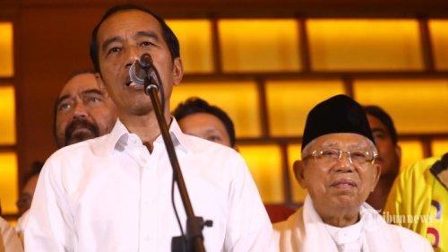 jokowi maruf amin tanggapi hasil hitung cepat tribunnews