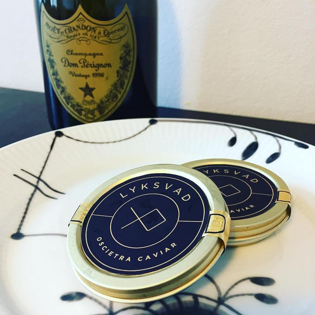 A bottle of 1996 dom perignon and Danish luxury caviar from Lyksvad