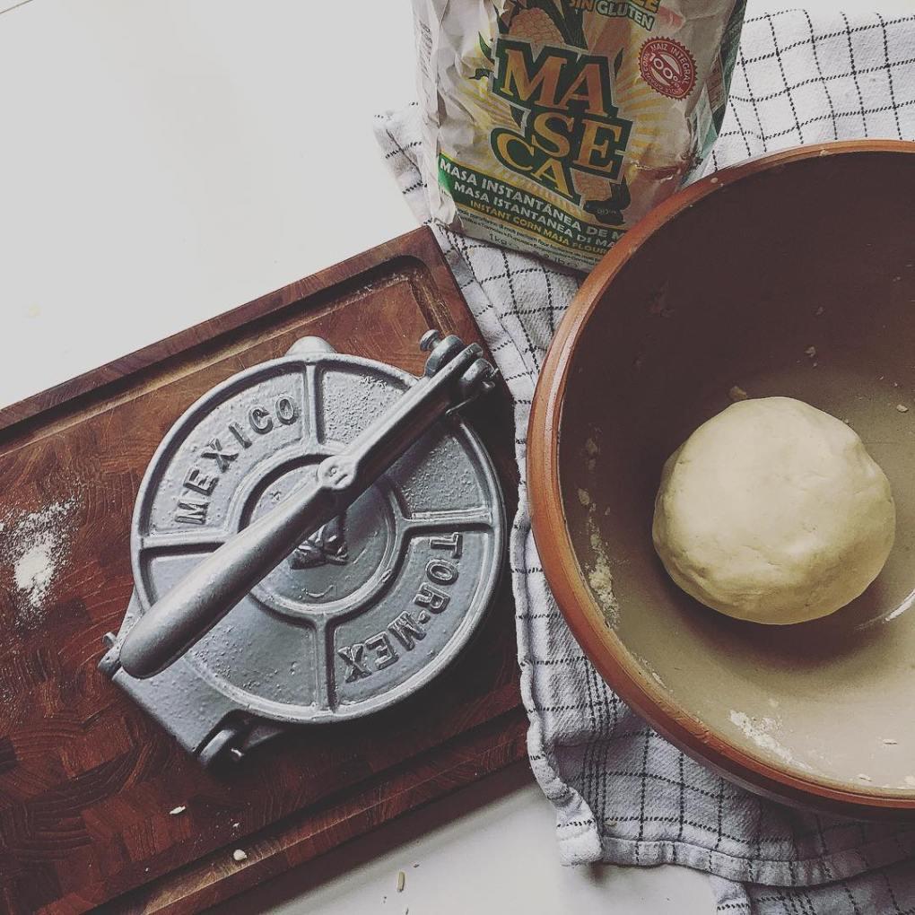 tortilla press and masa