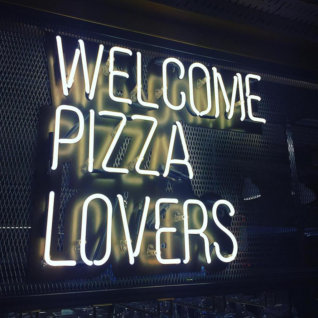 Welcome Pizza Lovers sign at Tivoli Food Hall