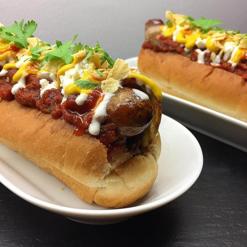 Fully loaded Mexican hotdog