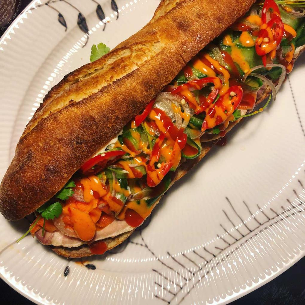 Banh mi sandwich with sriracha and mayo