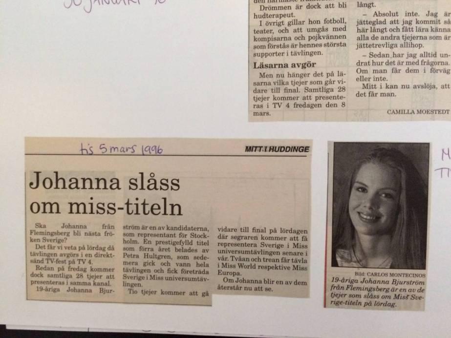 Johanna slåss om titeln Fröken Sverige huddinge tidningen 1996