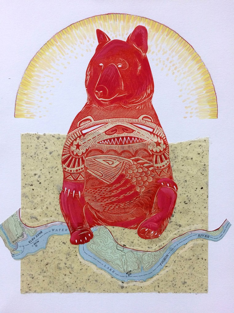 Bear Sunrise with Map Mixed Media Collage by Johanna Mueller