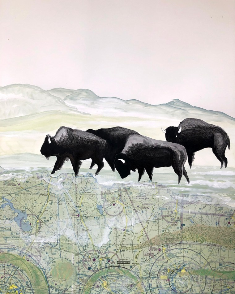 Buffalo Tryptic Part 1 Mixed Media Collage by Johanna Mueller