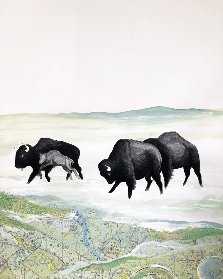 Buffalo Tryptic Part 3 Mixed Media Collage by Johanna Mueller