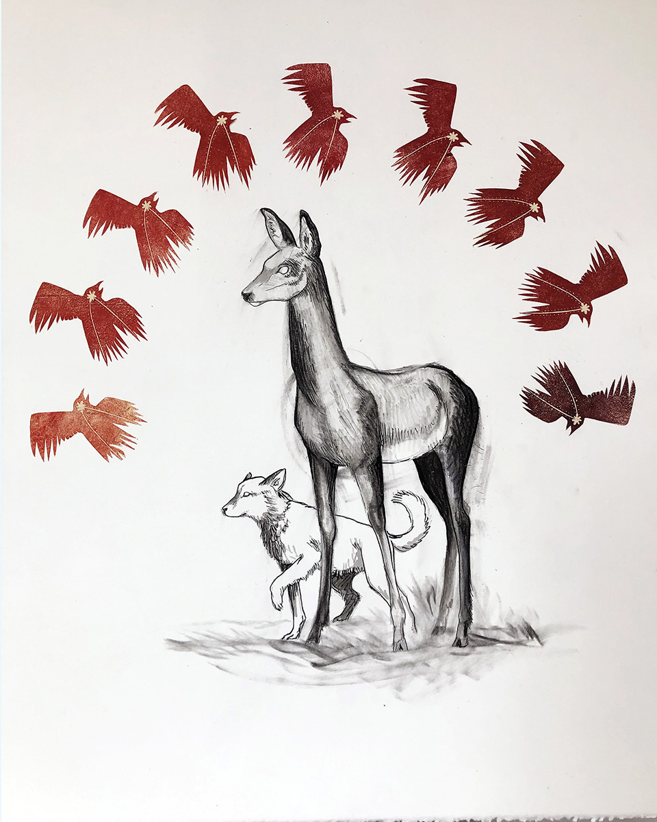 Companions on the Path Mixed Media Drawing by Johanna Mueller