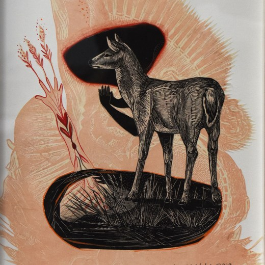Deer Growth Mixed Media Collage by Johanna Mueller