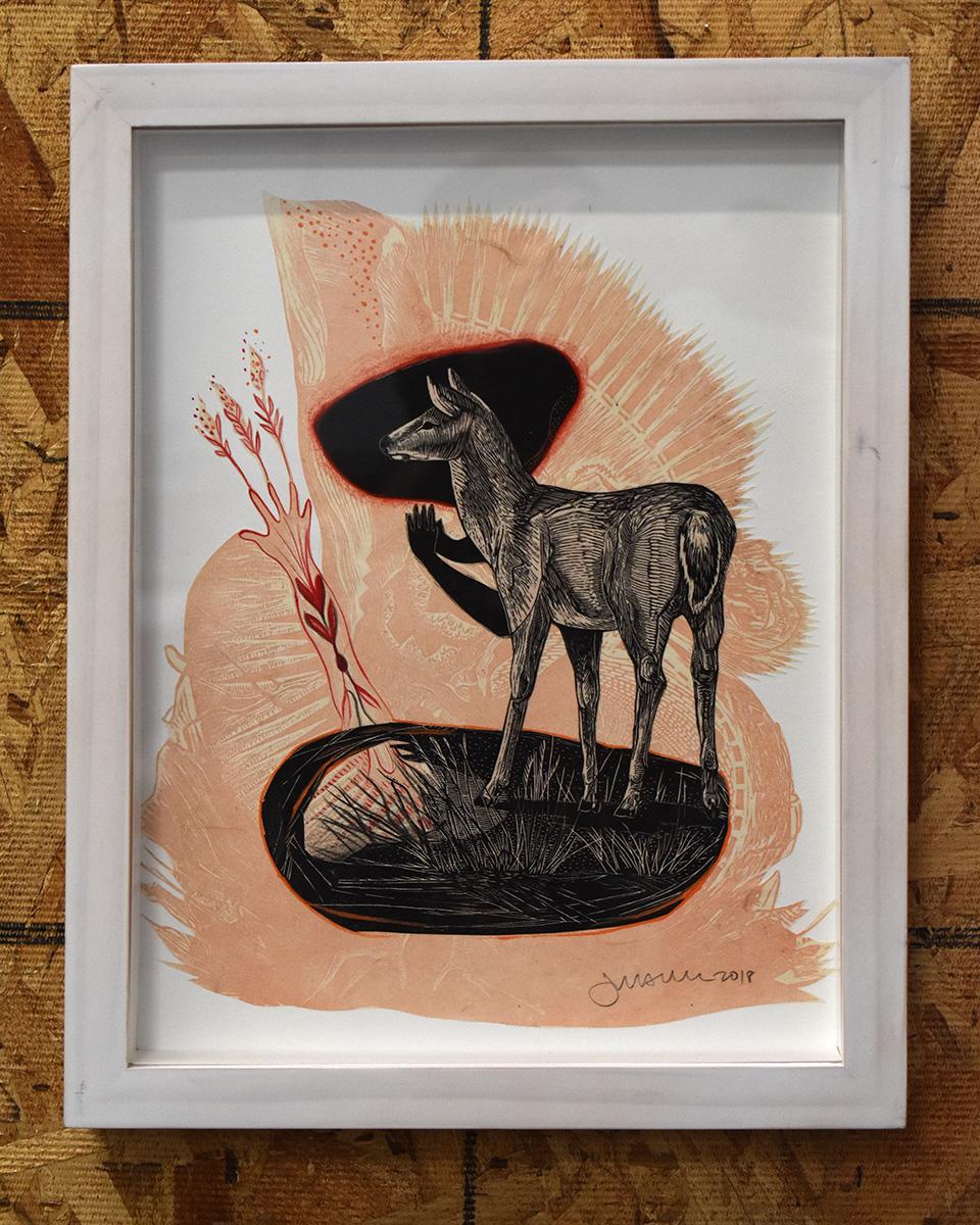 Deer Growth Framed Mixed Media Collage by Johanna Mueller