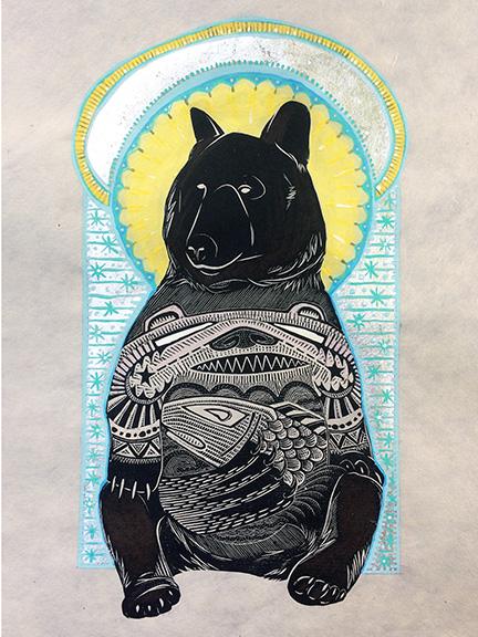 Mountain Saint Bear Mixed Media Collage by Johanna Mueller