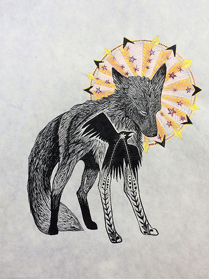 Mountain Saint Fox Mixed Media Engraving by Johanna Mueller