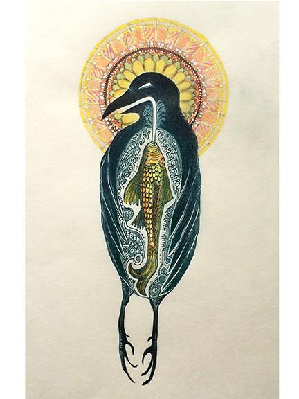 Mountain Saint Raven Mixed Media Engraving by Johanna Mueller