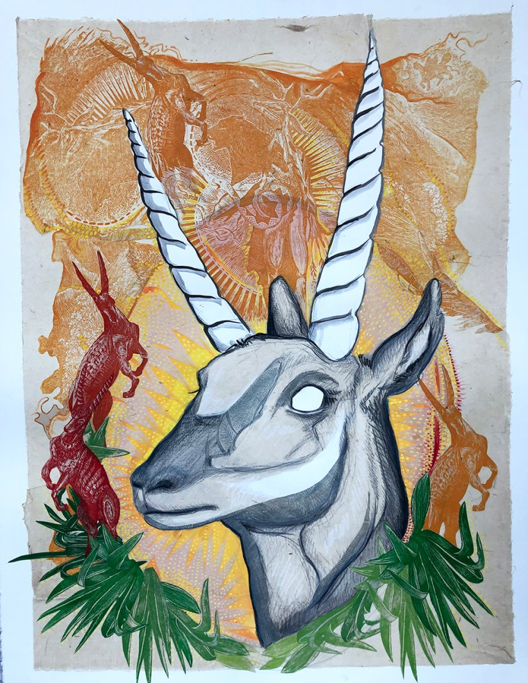 Warrior Pronghorn Mixed Media Collage by Johanna Mueller