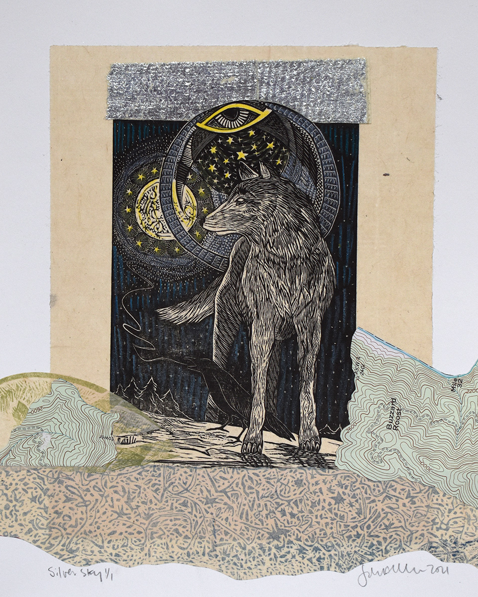 Silver Sky Mixed Media Collage by Johanna Mueller