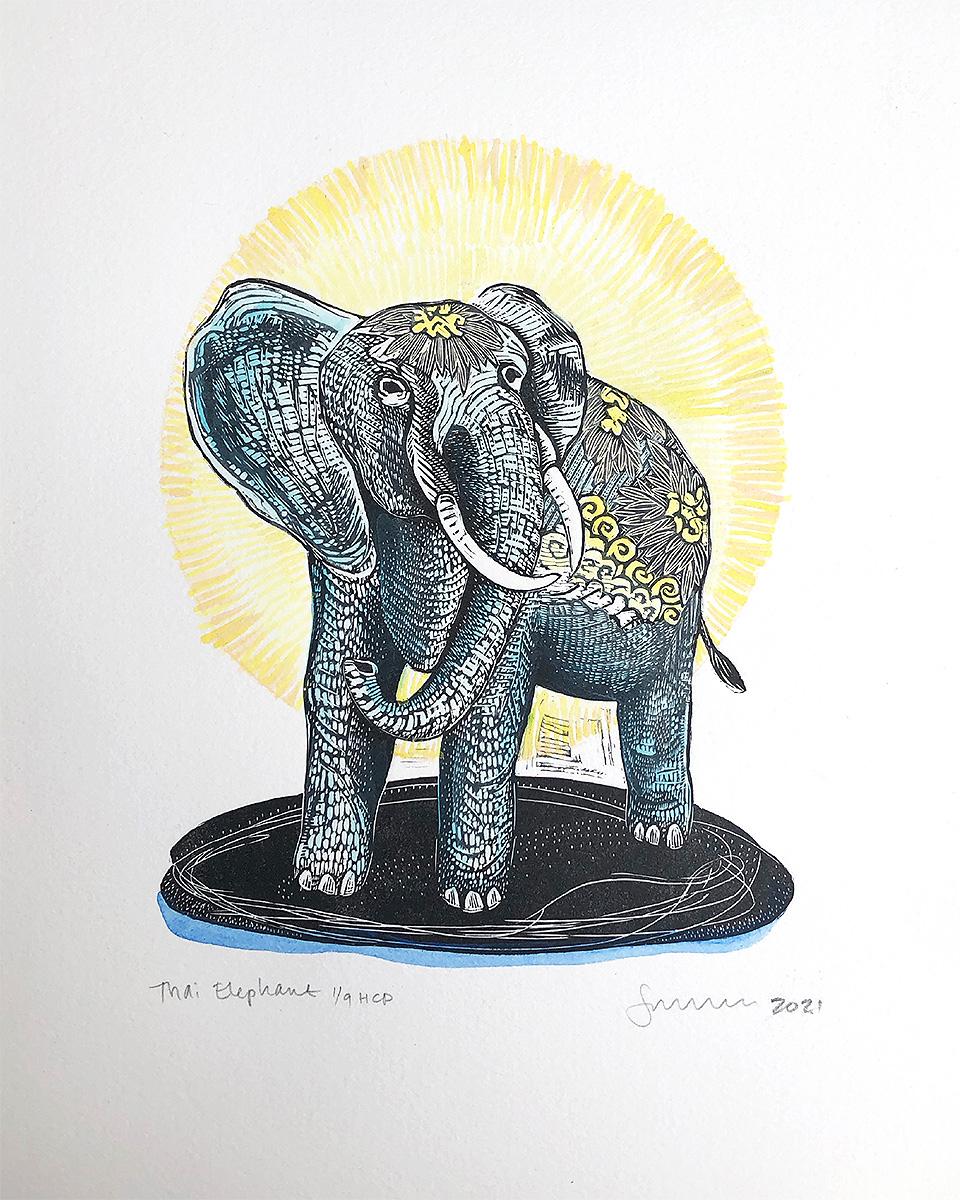 Thai-Elephant-Hand-Colored Edition-by-Johanna-Mueller