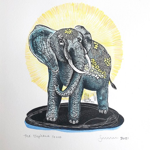 Thai-Elephant-Hand-Colored Edition-by-Johanna-Mueller