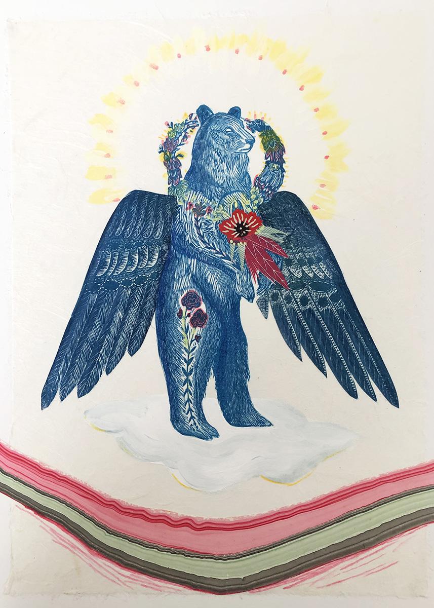 Angel-Bear-mixed-media-Collage-by-Johanna-Mueller