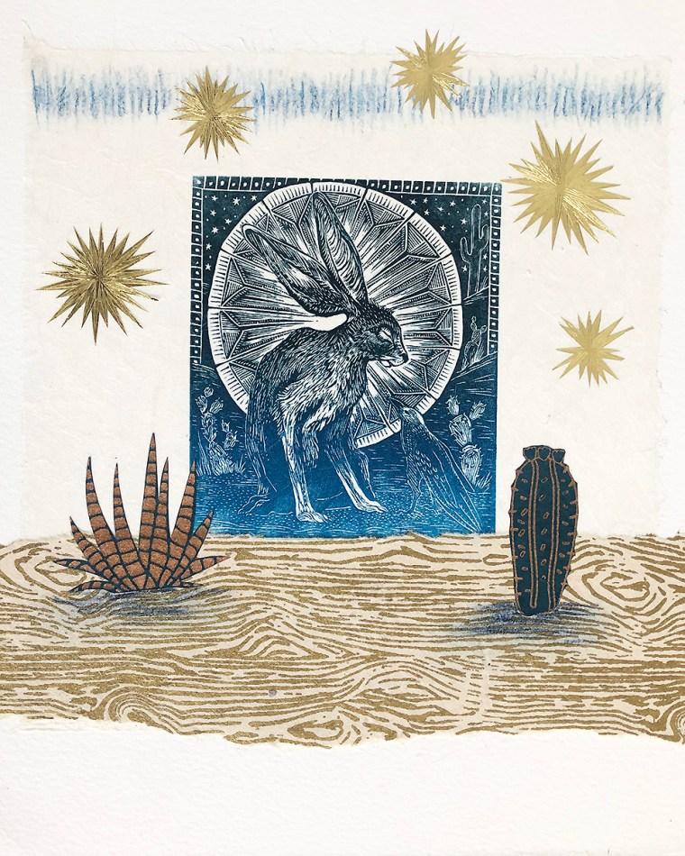 Desert-Encounter-mixed-media-print-by-Johanna-Mueller