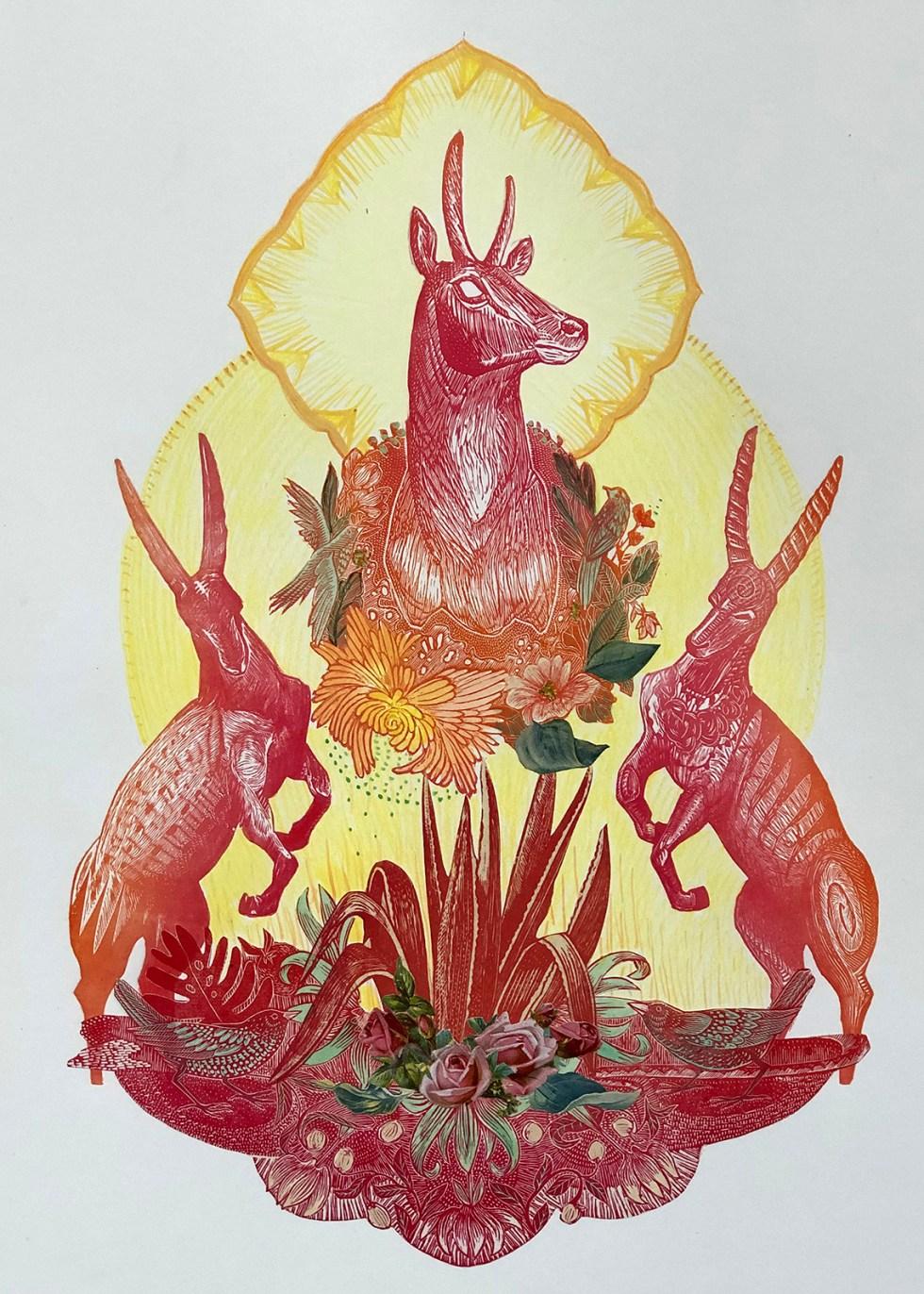 king-of-antelopes-mixed-media-collage-print