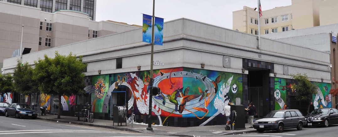 Hummingbird Civic Center corner mural