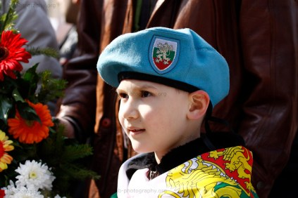 Young boy with beret and Bulgarian flag