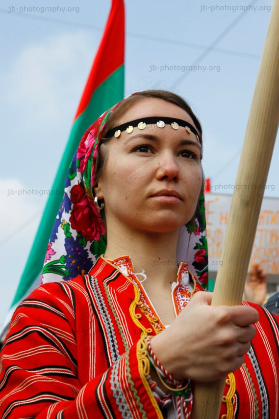 Woman in traditional Bulgarian dress