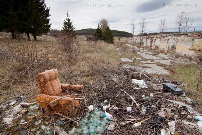 Derelict industrial poultry farm north of Sofia - forgotten chair