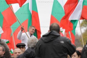 Pro-government demonstrator waving a Bulgarian flag.