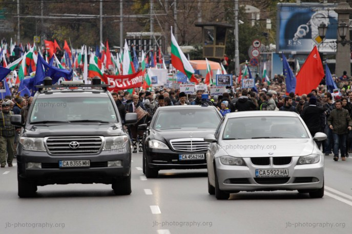 Three luxury cars leading a pro-government march organized by the Bulgarian Socialist Party, the ex-communists.
