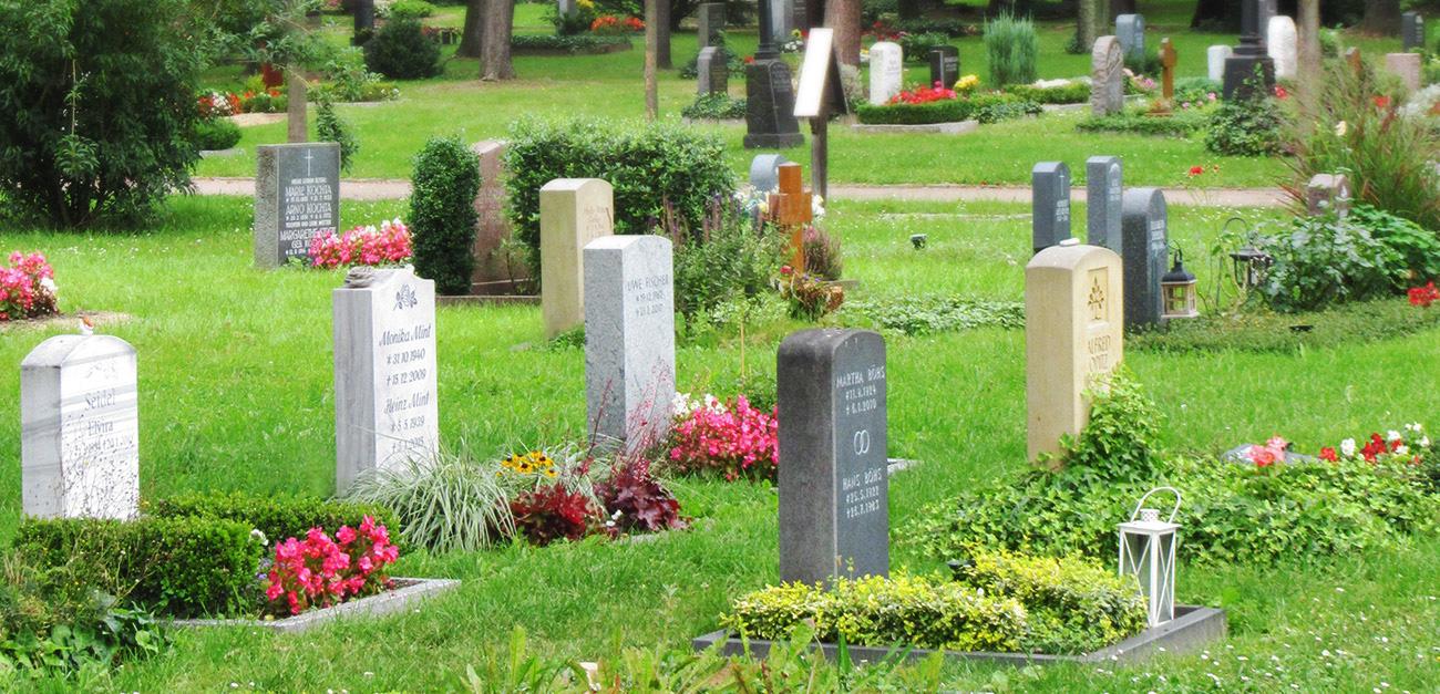 Ansicht einer Reihe von Gräbern mit jahreszeitlich passender Befpflanzung.