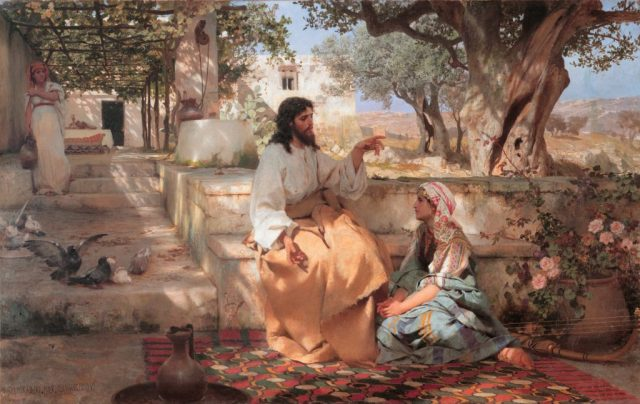 Jesus teaching with Mary at his feet, Martha in the background.