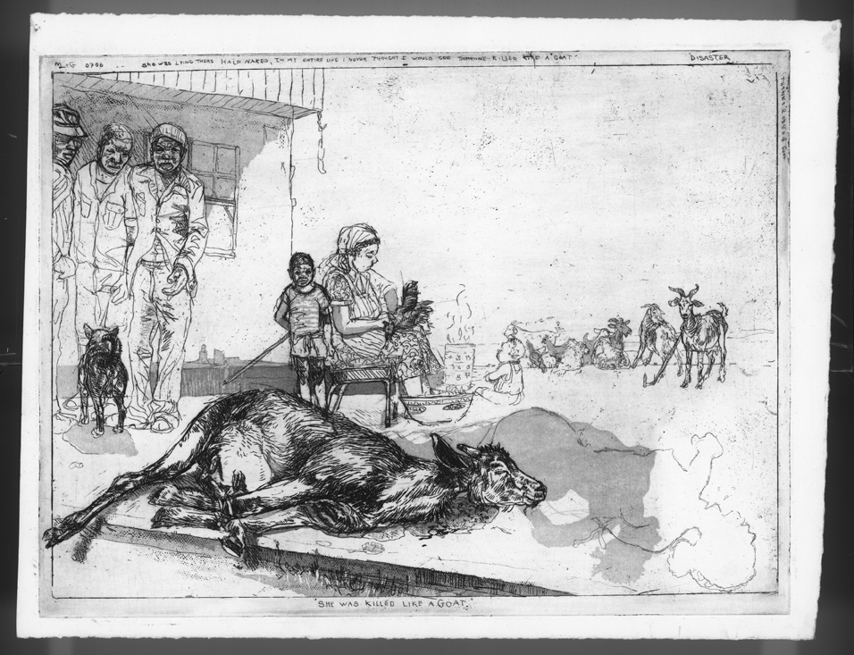 Diane Victor, etching from the Disasters of Peace Series