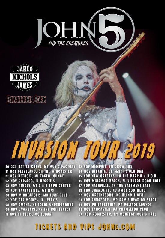 John 5 Creatures Jared James Nichols Reverend Jack Invasion tour 2019