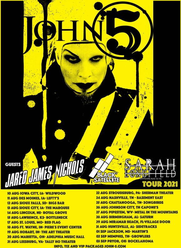 John 5 and The Creatures North American tour 2021 full dates poster