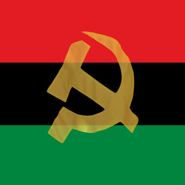 Pan African flag merged with the communist symbol