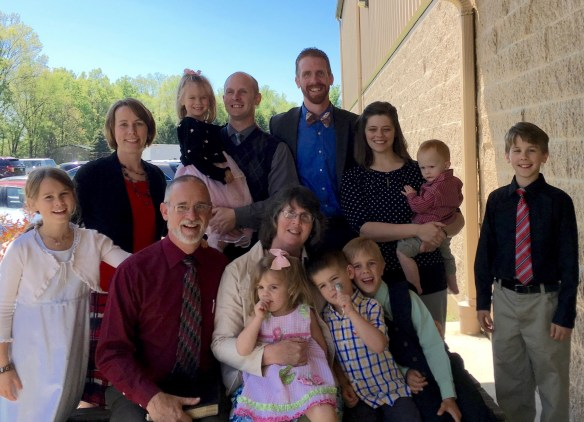 Here's Pa & Grandma with Dave & Sarah, Nate & Amber, and our seven grandkids in the USA