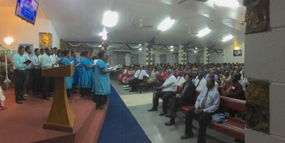 Calvary Baptist Choir singing to a packed church house!