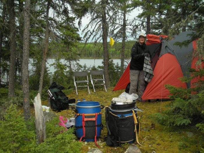 Camp on small island in Diefenbaker Bay, Lac La Ronge
