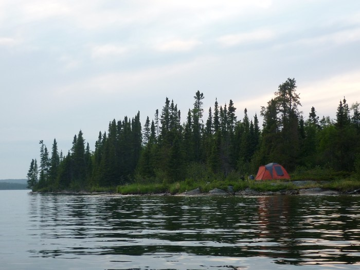 Our camp on Marchand Lake, taken from the canoe