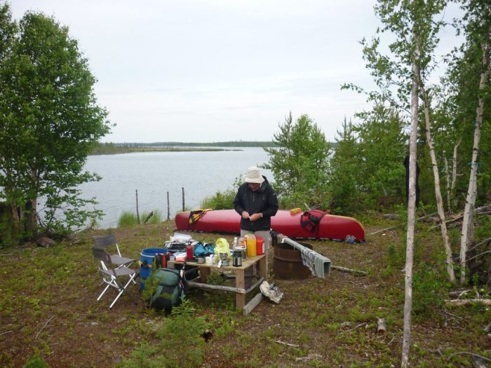 Dene fishing camp, with table which brought joy to Kate's heart!