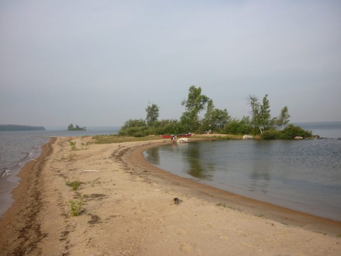 Our campsite on a sandspit, south end of an un-named island in Hatchet Lake