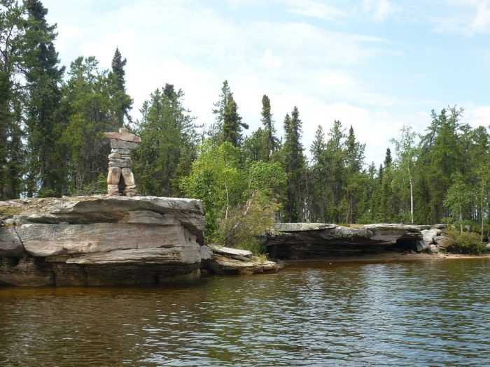 Large Inukshuk on point, western Otter Lake