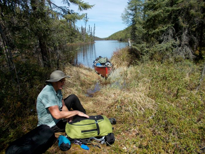 Lunch stop, north end of the portage into Square Lake