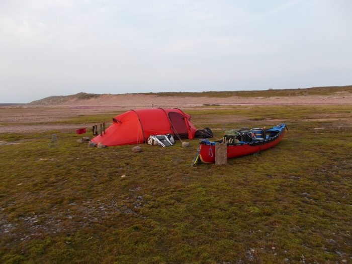 Camp on 'goose meadow', central peninsula, Aberdeen Lake