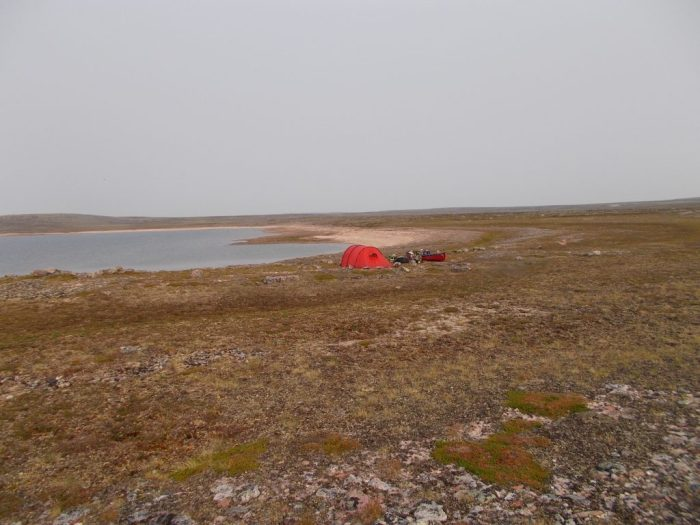 Camp in the lee of Peqetuaz Hill, Aberdeen Lake