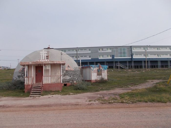 New High School and old church, Baker Lake