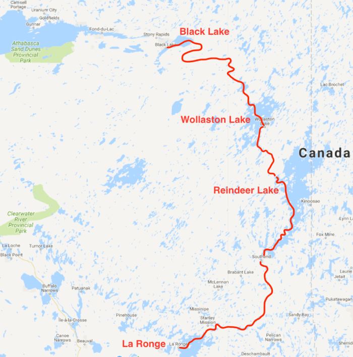 Route map Lac La Ronge to Black Lake 2013
