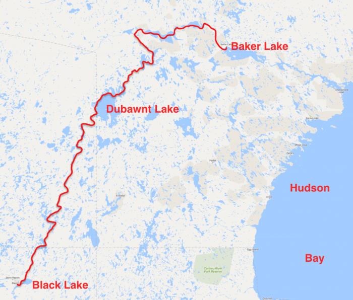 Route map Black Lake to Baker Lake 2014
