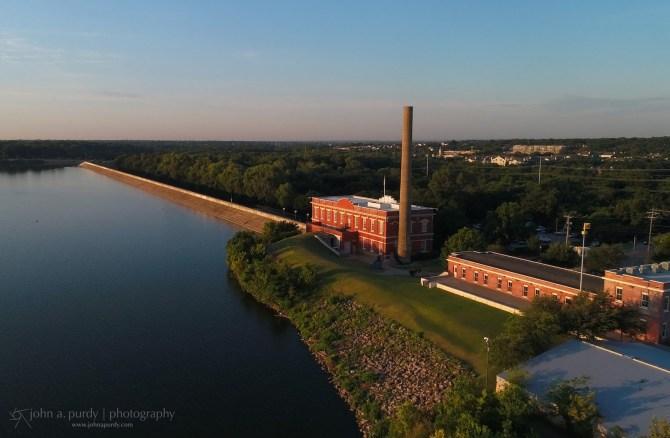Drone White Rock Lake Buildings at Sunrise